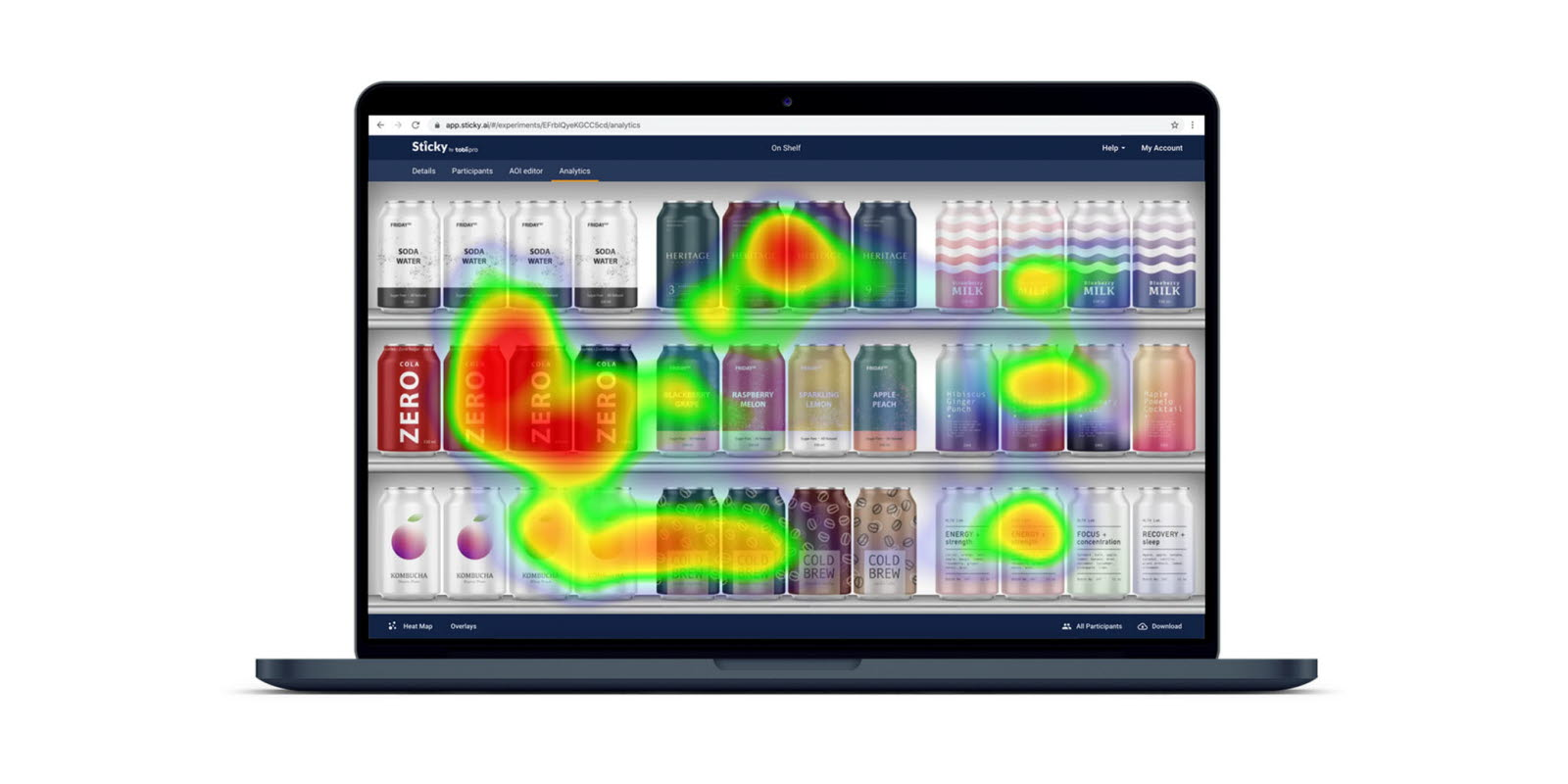 laptop with Tobii Pro Sticky heatmap