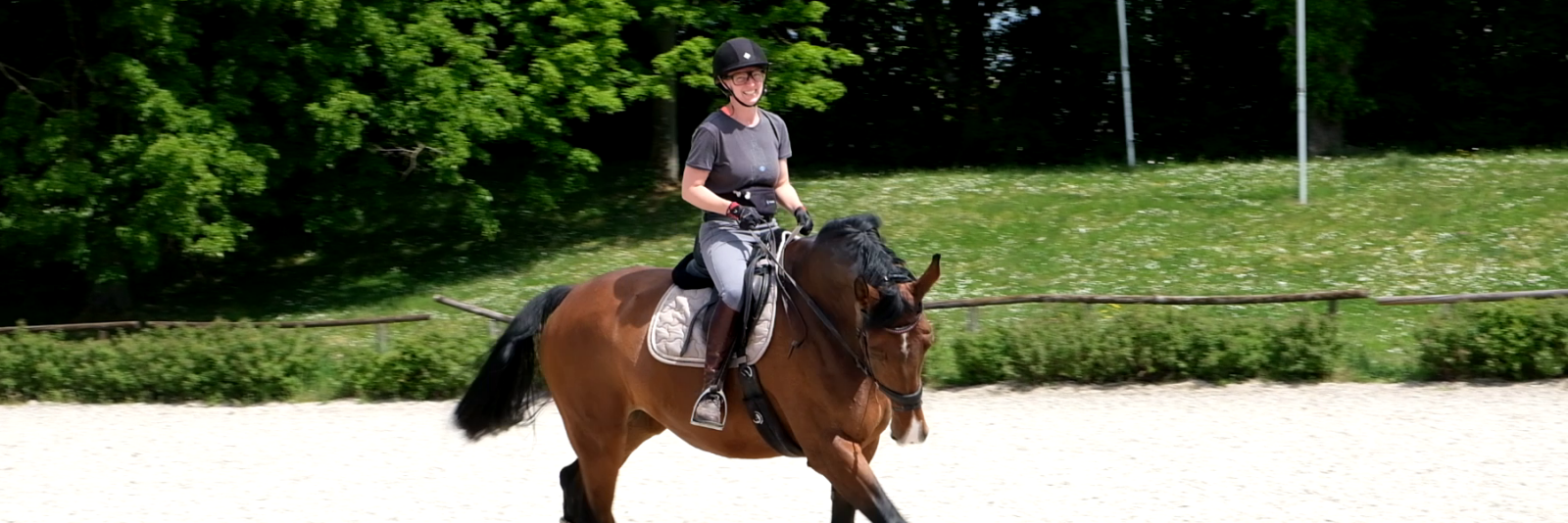 A person riding a horse while wearing Tobii Pro Glasses 3