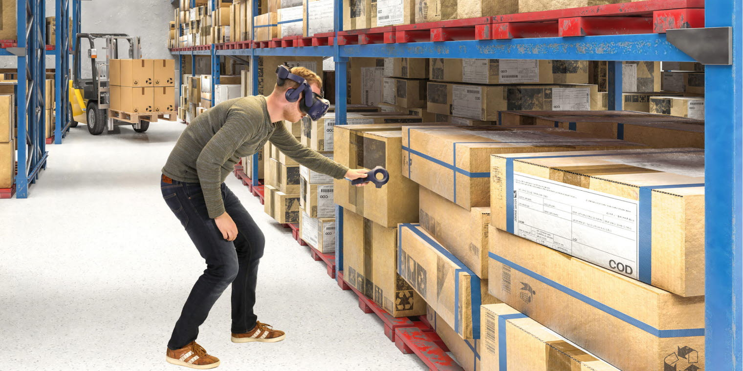 Tobii Pro VR Analytics with HTC Vive Pro Eye used to train logistics operators at a warehouse
