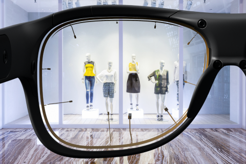 Looking at a retail store windown through Tobii Pro Glasses 3
