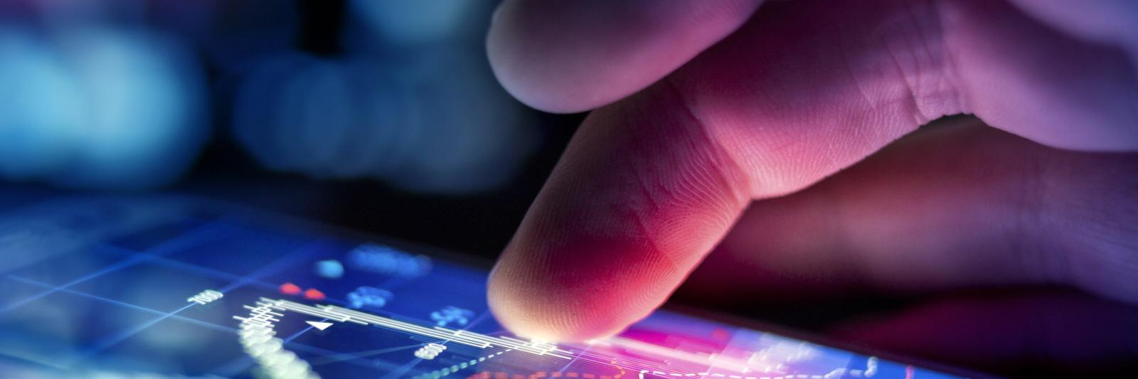 Investor checking data on mobile