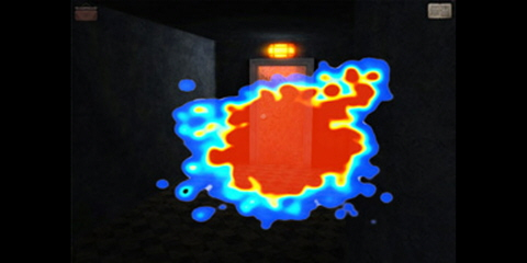 A heat map that overlaid on the video game.