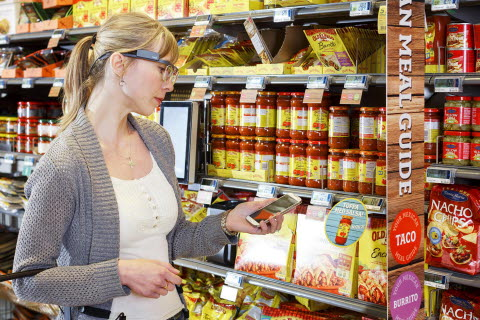 Consumer Shopping looking at products with eye tracking glasses