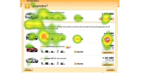 A screenshot from the Holidays Auto web with a heat map on the top of it.