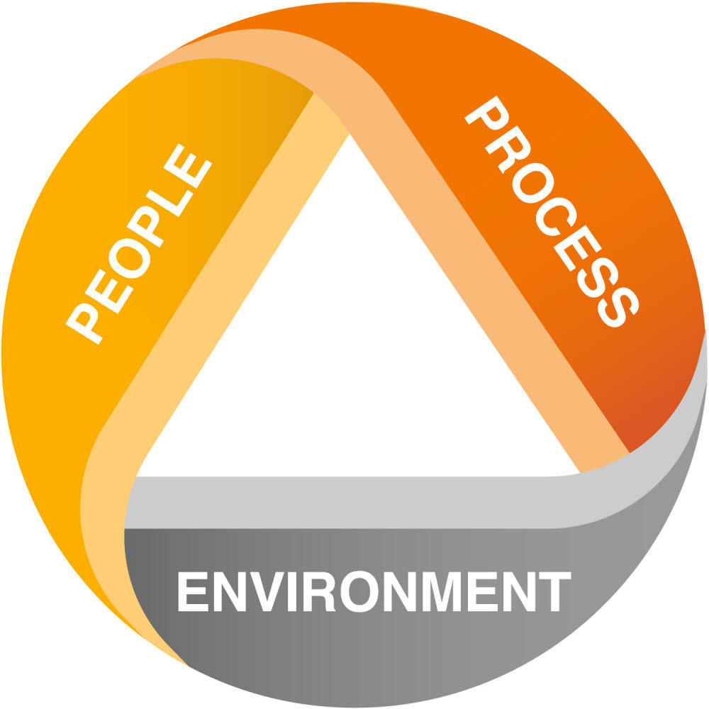 People, process and environment logo