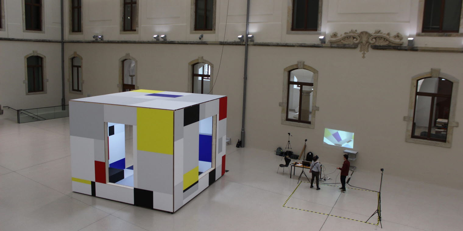 Virtual reality research/exhibition set up in a museum