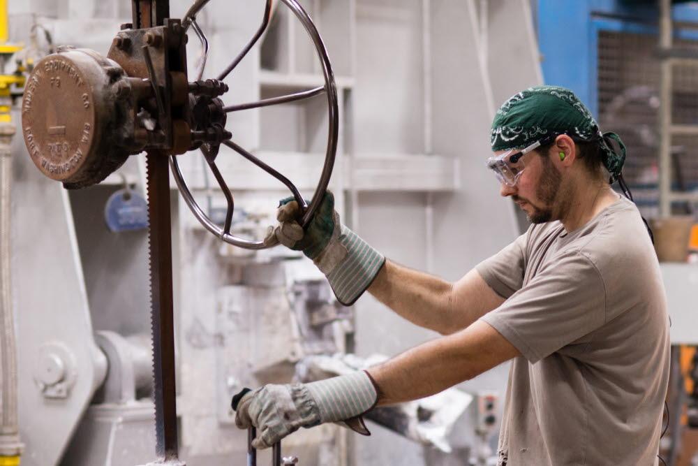 H&H Castings worker using eye tracking glasses