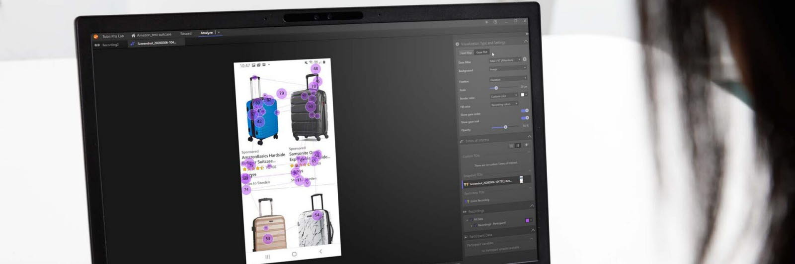 Person looking at e-commerce products with mobile testing eye tracking