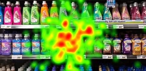 Supermarket Shelf with heatmap eye tracking