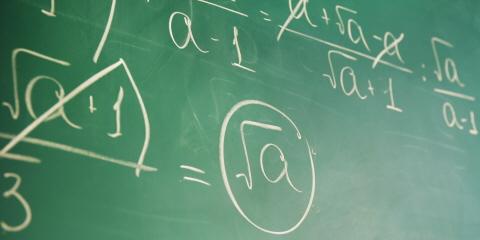 A blackboard with algebraic equations