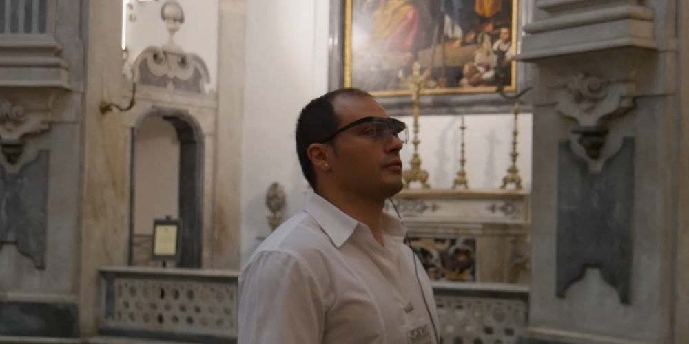 Tobii Pro Glasses 2 wearable ye tracker used in a painting viewing study in Italy