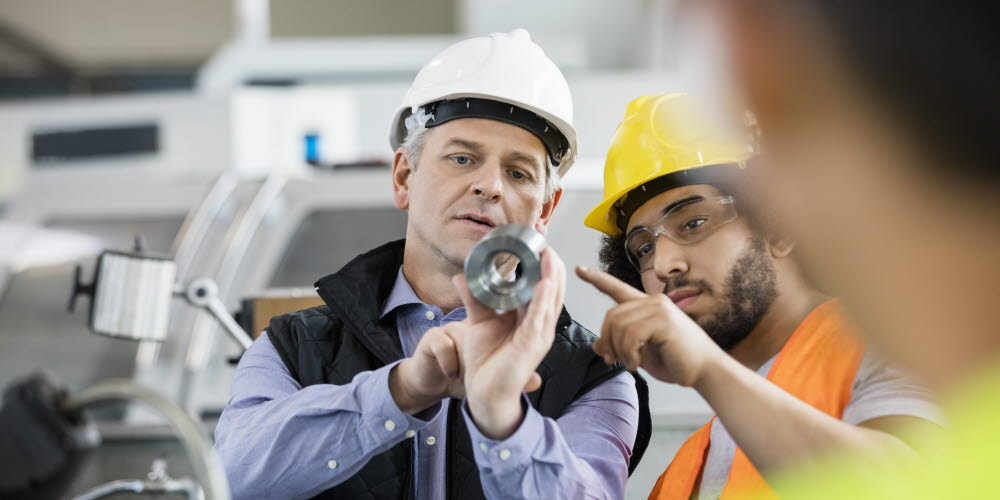 Experience worker training younger works in a plant