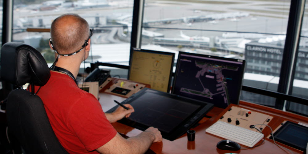 Air traffic controller at Arlanda airport using eye tracking glasses