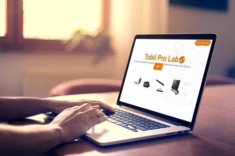 Laptop with Tobii Pro Lab webinar
