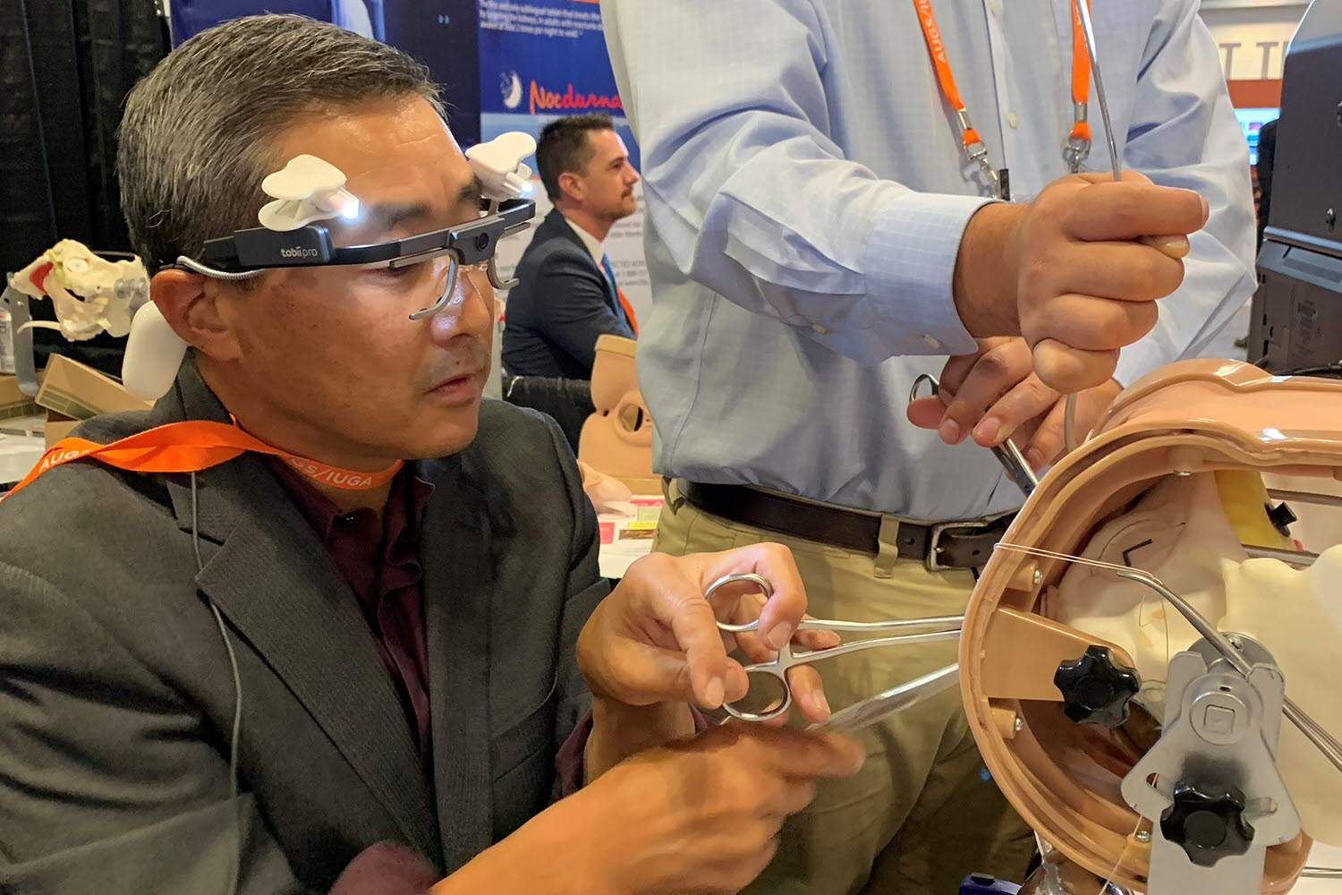 Dr. Miyazaki using Tobii Pro Glasses 2 to perform test surgery