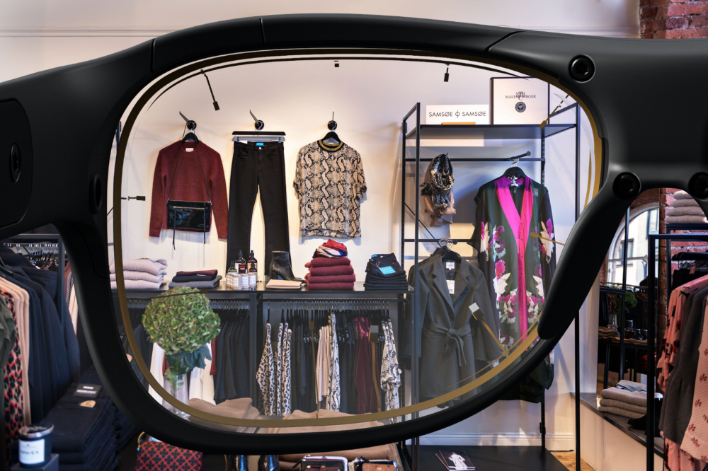 A clothing store layout viewed through Tobii Pro Glasses 3