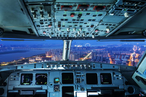 view from the cockpit of an airplane